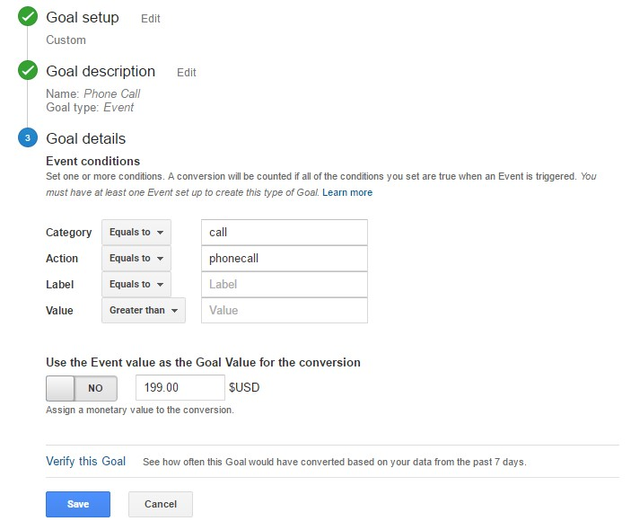 Google Analytics How to Track Phone Calls Step 2