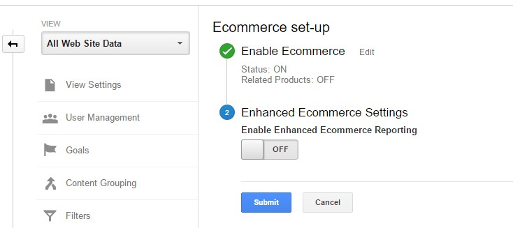 Google ecommerce settings step 2