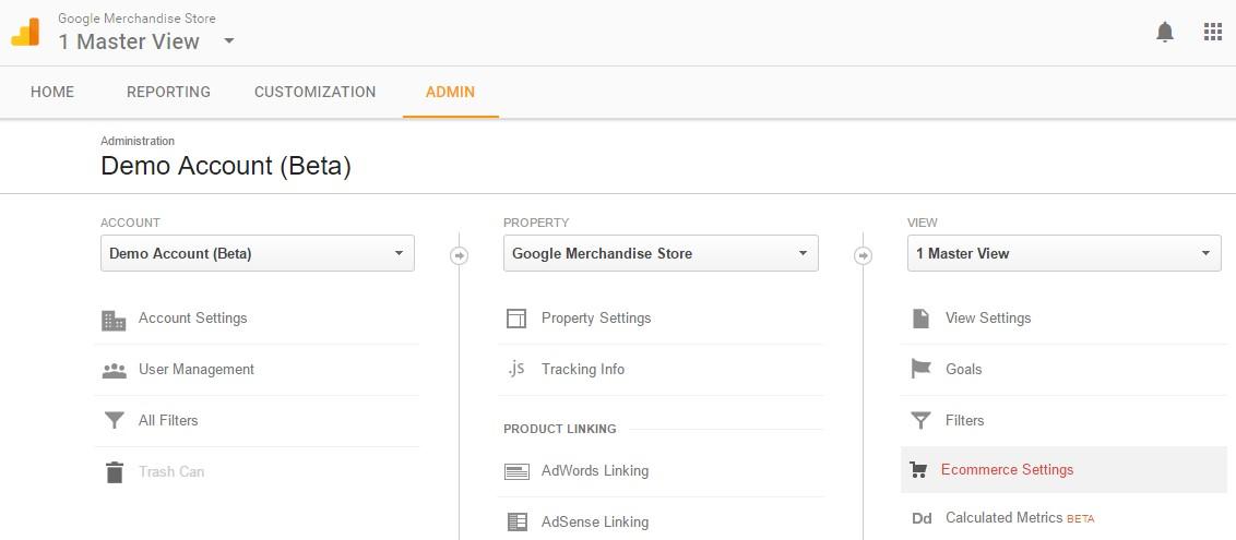 Google Ecommerce Settings