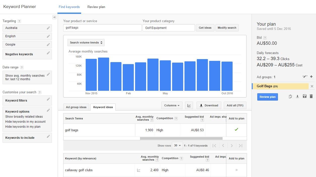 Google Adwords Keyword Planner Golf Bags Example 1